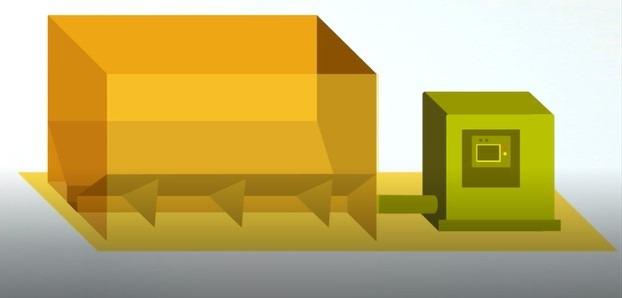 schéma simplifié chaudière à granulé et silo de stockage