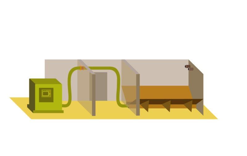 schéma chaudière à granulé avec silo de stockage